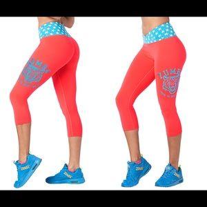 NWT Zumba Roar Capri Leggings, Pink Happy, L